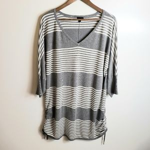 Torrid Striped 3/4 Length Ruched Side Top